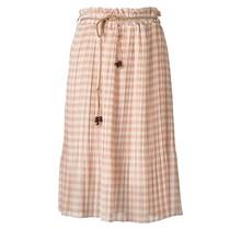 Dames plissé rok beige/wit ruit en touwtjes - kort