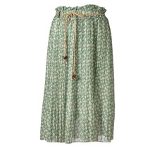 Dames plissé rok kleine bloemen touwtjes groen/wit kort