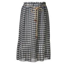 Dames plissé rok zwart/wit ruit en touwtjes - kort