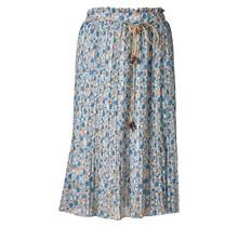 Dames plissé rok kleine bloemen touwtjes oranje/blauw/wit kort