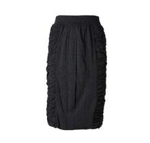 Dames rok stretch plooien zijkant antraciet
