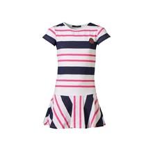 Meisjes jurk marine/roze gestreept