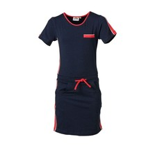Meisjes jurk marine met rode accenten