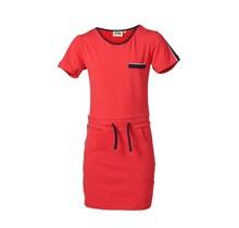 Meisjes jurk rood met marine accenten