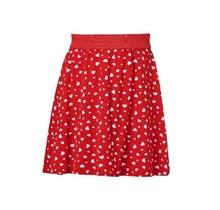 Meisjes a-lijn rok rood met witte hartjes