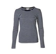 Dames shirt basic marine/offwhite gestreept lange mouw