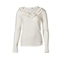 Dames shirt met ruffles offwhite