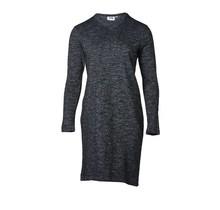 Dames jurk slub marine/grijs melange