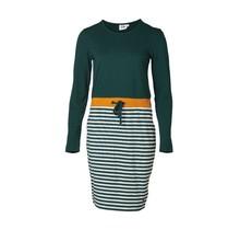 Dames jurk lange gestreept mouw groen/mosterd - kort