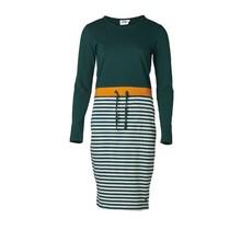 Dames jurk lange mouw gestreept groen/mosterd - lang