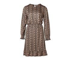 Dames jurk slangenprint bruin/marine