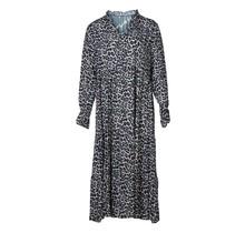 Dames lange jurk panterprint zwart/groen