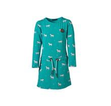 Meisjes jurk Turquoise met paarden lange mouwen