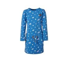 Meisjes jurk Blauw met paarden/hartjes lange mouwen