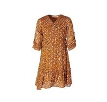 Meisjes jurk 3/4 mouwen panterprint cognac/oranje