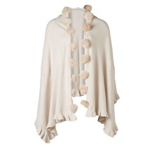 Dames sjaal omslagdoek crème met pompons