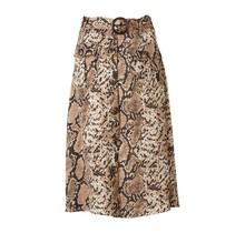 Dierenprint damesrok met gesp-riem, twee zakken en sierknopen aan de voorzijde