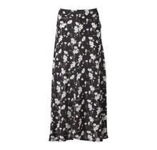 Lange, zwart-witte, doorschijnende damesrok in bloemenprint. Te combineren met onderrok.