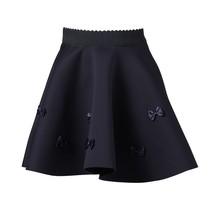 Meisjes A-lijn rok marine met strikjes