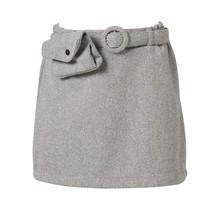 Meisjes rok grijs met heuptasje detail