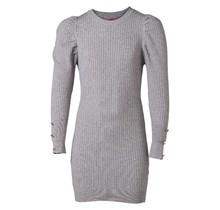 Meisjes stretch jurk chickenleg/pofmouwen grijs