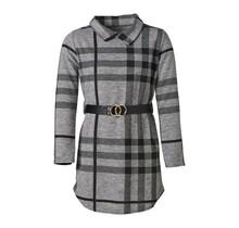 Meisjes geruite jurk lange mouwen grijs