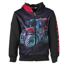 Jongens vest Zwart met tractor rood