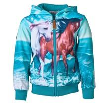 Meisjes vest Turquoise met paarden