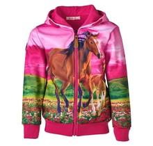 Meisjes vest Fuchsia met paarden