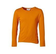 Meisjes shirt basic curry lange mouw   met marine accenten