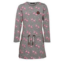 Meisjes jurk grijs flamingoprint lange mouwen