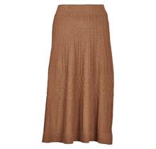 Dames rok gebreid met structuur bruin