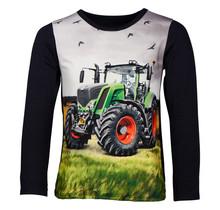 Jongens shirt marine lange mouwen met tractor groen/rood