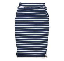 Dames rok terry streep marine/brede witte randen