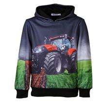 Jongens marine/zwarte trui hoodie tractor rood/wit