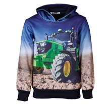 Jongens marine trui hoodie tractor groen/geel