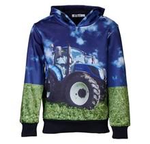 Jongens marine trui hoodie tractor blauw/geel