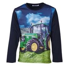 Jongens shirt marine lange mouwen met tractor groen/geel