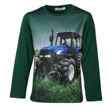 Jongens shirt donkergroen lange mouwen met tractor  blauw/wit