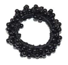 Scrunchie/haarelastiek met zwarte parels
