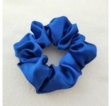 Scrunchie satijn look kobalt blauw