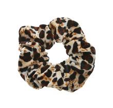 Scrunchie panterprint velvet zwart/bruin/crème