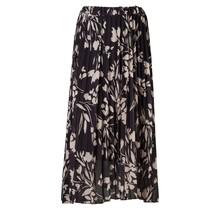 Dames rok plisse zwart met offwhite bladerenprint - lang
