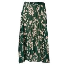 Dames rok plisse groen met offwhite bladerenprint - lang