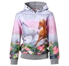 Meisjes grijze trui hoodie met paarden