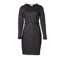 Dames milano jurk zwart/groen/wit gemêleerd, lm - lang