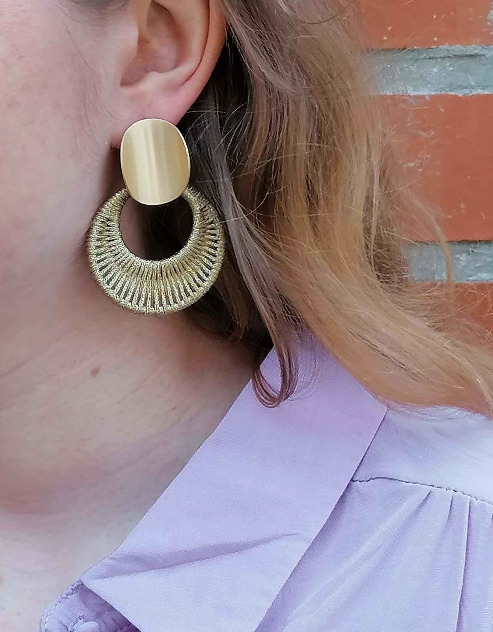 Woven Gold Earrings light gold