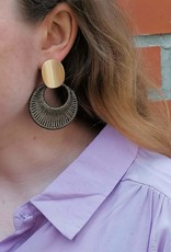 Woven Gold Earrings brown gold