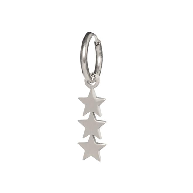 Oorring 3 stars zilver