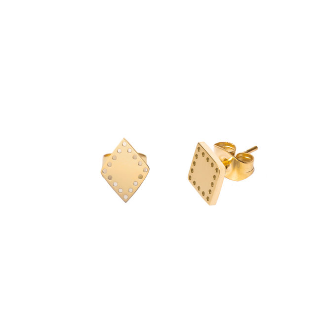 Oorknopjes triangle dots goud